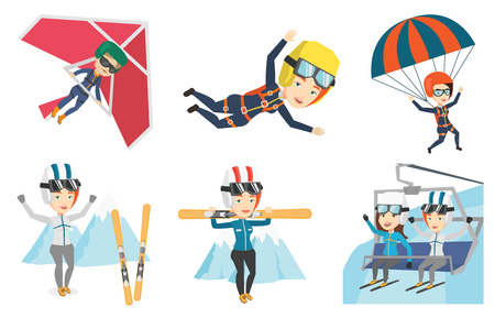 Caucasian woman carrying skis. Sportswoman standing with skis on her shoulders. Skiers using cableway in mountains at ski resort. Set of vector flat design illustrations isolated on white background.