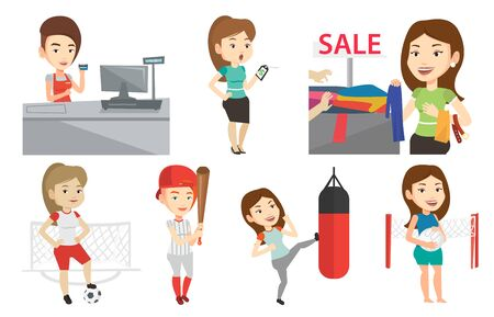 mujer en el supermercado: Caucasian woman choosing clothes in shop on sale. Woman buying clothes at store on sale. Woman shopping in clothes shop on sale. Set of vector flat design illustrations isolated on white background.