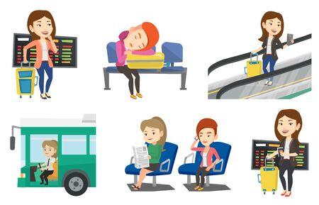 Vrouw die op een vlucht bij de luchthaven wacht. Passagier met koffer die zich bij de luchthaven op de achtergrond van vertrekraad bevinden. Reeks vector vlakke die ontwerpillustraties op witte achtergrond worden geïsoleerd.
