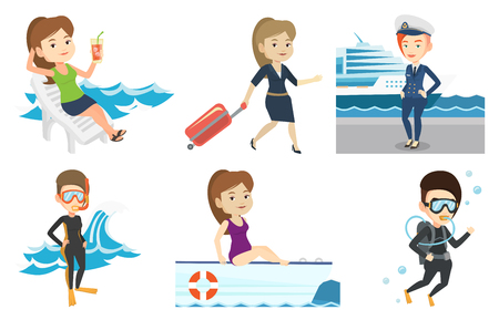 Caucasian woman diving with scuba and showing ok sign. Woman in diving suit snorkeling and giving thumb up. Woman enjoying the dive Set of vector flat design illustrations isolated on white background Illustration