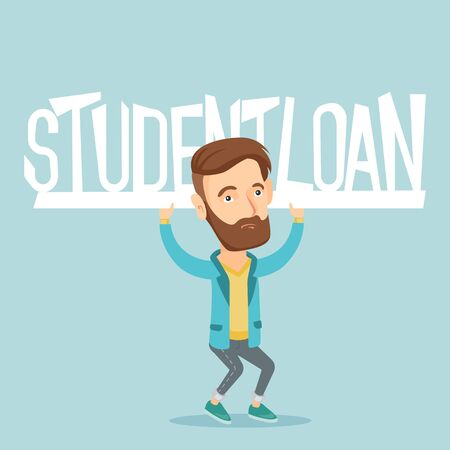 man holding sign: Young man holding sign of student loan.