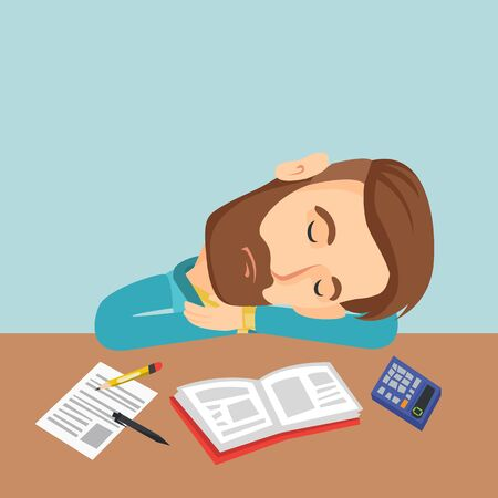 weariness: Student sleeping at the desk with book.