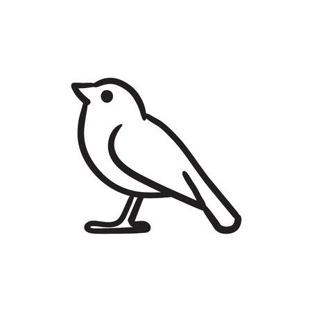 Icono del bosquejo del pájaro.