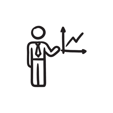 report icon: Business report sketch icon.
