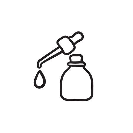 Flesje etherische olie en pipet met drop vector schets pictogram geïsoleerd op de achtergrond. Hand getekend etherische olie en pipet pictogram. Flesje etherische olie schets pictogram voor infographic, website of app. Stock Illustratie