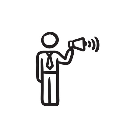 noisiness: Businessman with megaphone sketch icon.