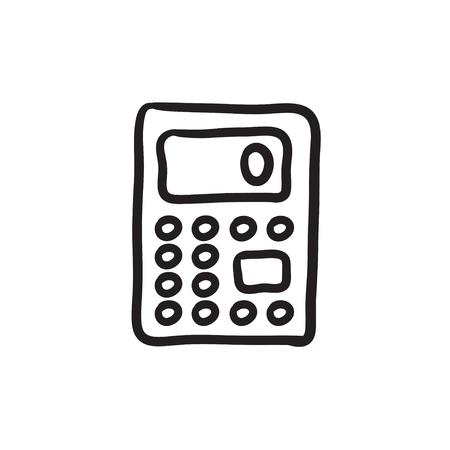 Calculator sketch icon. Illustration