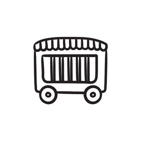 grille: Circus wagon sketch icon. Illustration