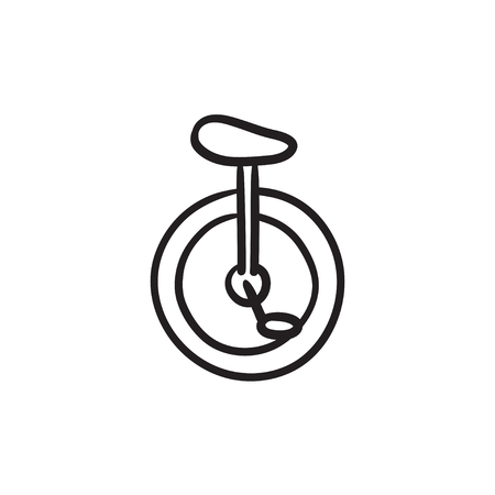 One wheel bicycle sketch icon. Illustration