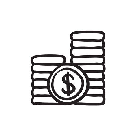 dime: Dollar coins sketch icon.