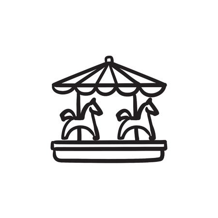 Merry-go-round with horses sketch icon. Иллюстрация