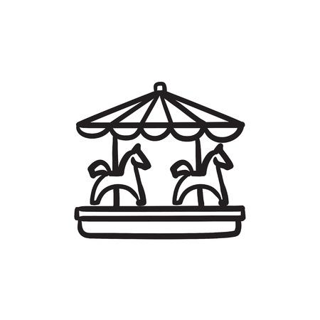Merry-go-round with horses sketch icon.