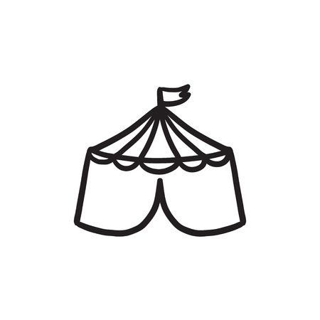 Circus tent sketch icon.