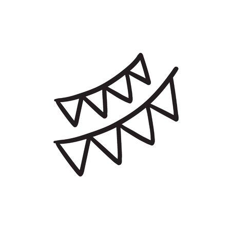Christmas triangular flags sketch icon.