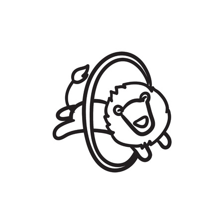 Lion jumping through ring sketch icon. Illustration