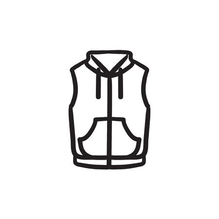 Vest down jacket sketch icon. 矢量图像