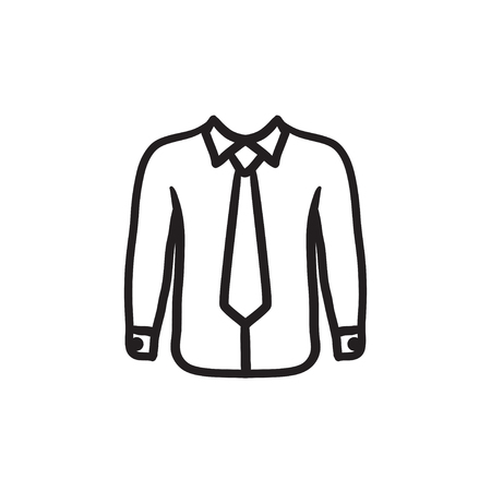 Shirt with tie sketch icon. Illustration