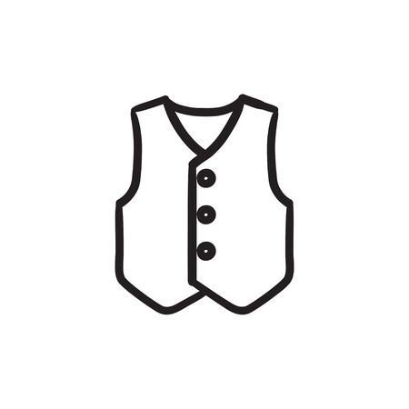 vest in isolated: Waistcoat sketch icon.