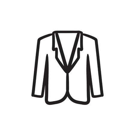 Male jacket sketch icon.