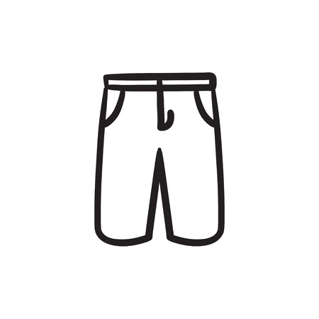 Male shorts sketch icon.