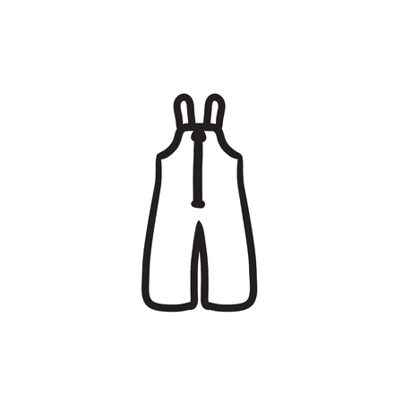 Baby winter overalls vector sketch icon isolated on background. Hand drawn Baby winter overalls icon. Baby winter overalls sketch icon for infographic, website or app. 向量圖像