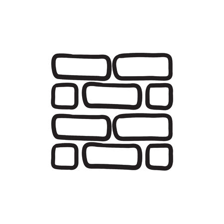 Brickwall vector sketch icon isolated on background. Hand drawn Brickwall icon. Brickwall sketch icon for infographic, website or app. Illusztráció