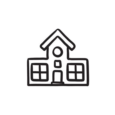 Gebouw vector schets pictogram op een achtergrond. Hand getrokken Building icoon. Het bouwen van schets pictogram van infographic, website of app. Stock Illustratie