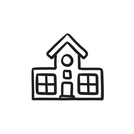 Icône de croquis de vecteur de construction isolé sur fond. Icône du bâtiment dessiné à la main. Icône de croquis de construction pour infographie, site Web ou application. Banque d'images - 72136376
