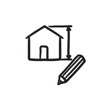 scale icon: House vector sketch icon isolated on background. Hand drawn House icon. House sketch icon for infographic, website or app.