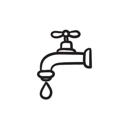 Dripping tap with drop vector sketch icon isolated on background. Hand drawn Dripping tap with drop icon. Dripping tap with drop sketch icon for infographic, website or app.