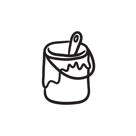 Paint brush in the paint tin vector sketch icon isolated on background. Hand drawn Paint brush in the paint tin icon. Çizim
