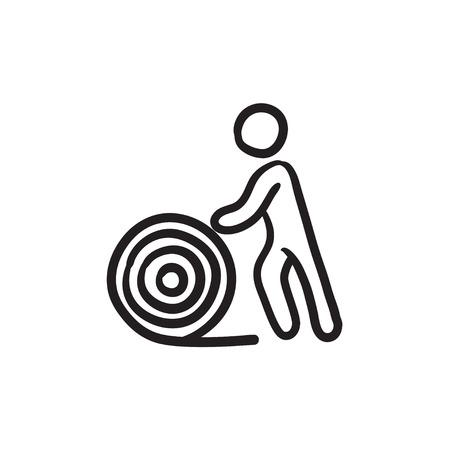 Hombre con carrete de alambre dibujo icono del vector aislado en el fondo. La mano del hombre dibujado con el icono del carrete de alambre. Hombre con dibujo icono de la bobina de alambre para la infografía, sitio web o aplicación.