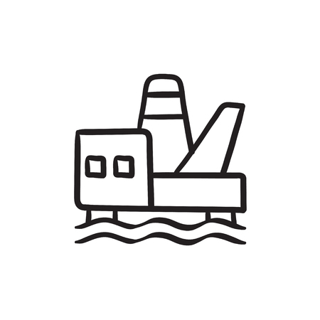 Offshore oil platform vector sketch icon isolated on background. Hand drawn Offshore oil platform icon. Offshore oil platform sketch icon for infographic, website or app. Stock Illustratie