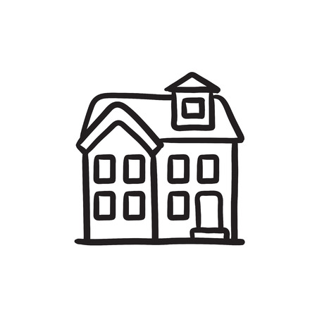 housing project: Two storey detached house vector sketch icon isolated on background. Hand drawn Two storey detached house icon. Two storey detached house sketch icon for infographic, website or app. Illustration