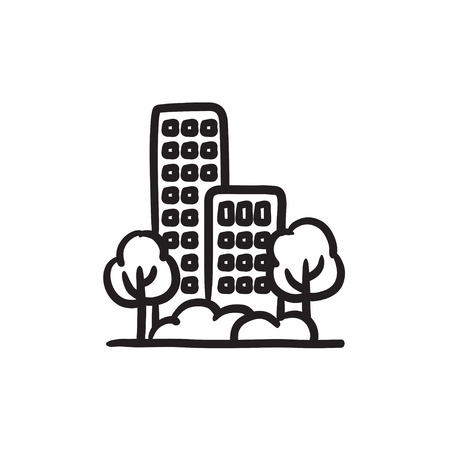 multi storey: Residential building with trees vector sketch icon isolated on background. Hand drawn Residential building with trees icon. Residential building with trees sketch icon for infographic, website or app.