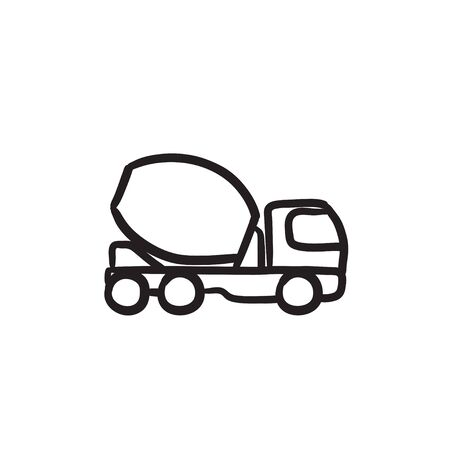 Concrete mixer truck vector sketch icon isolated on background. Hand drawn Concrete mixer truck icon. Concrete mixer truck sketch icon for infographic, website or app. Ilustrace
