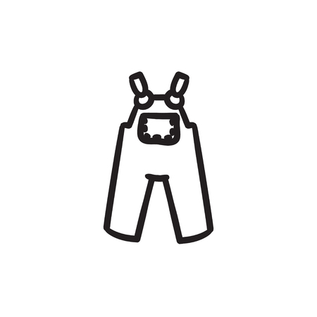 Baby overalls vector sketch icon isolated on background. Hand drawn Baby overalls icon. Baby overalls sketch icon for infographic, website or app. Illustration