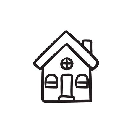 detached: Detached house vector sketch icon isolated on background. Hand drawn Detached house icon. Detached house sketch icon for infographic, website or app. Illustration