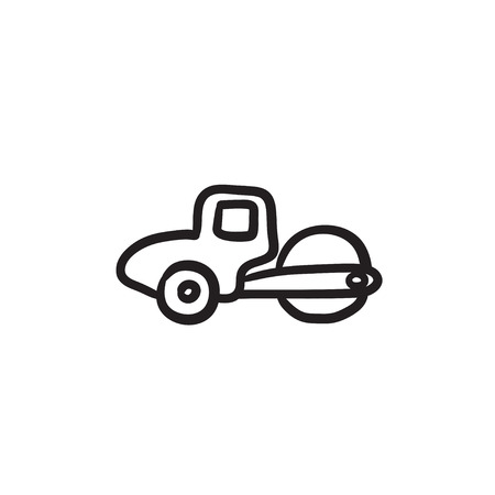 道路ローラー ベクター スケッチ アイコン背景に分離されました。手は、道路ローラー アイコンを描画します。ロード ローラーは、インフォ グラ