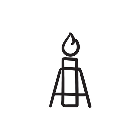 Gas flare vector sketch icon isolated on background. Hand drawn Gas flare icon. Gas flare sketch icon for infographic, website or app. Illustration
