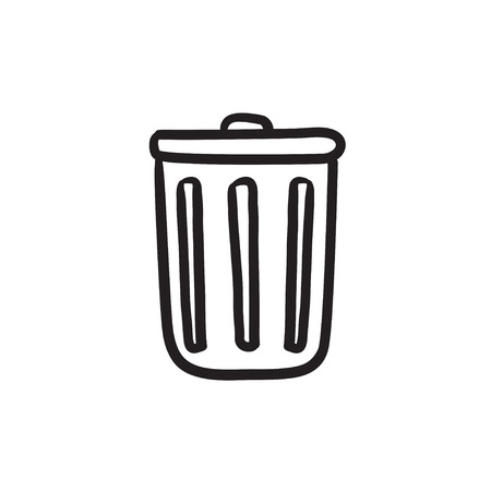 Trash can vector sketch icon isolated on background. Hand drawn Trash can icon. Trash can sketch icon for infographic, website or app.