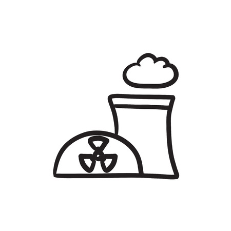 Nuclear power plant vector sketch icon isolated on background. Hand drawn Nuclear power plant icon. Nuclear power plant sketch icon for infographic, website or app.