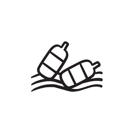 Bouteilles flottant dans l'eau vecteur croquis icône isolé sur fond. Bouteilles dessinés à la main flottant dans l'icône de l'eau. Bouteilles flottant dans l'eau icône esquisse pour infographie, site Web ou application. Banque d'images - 72137383