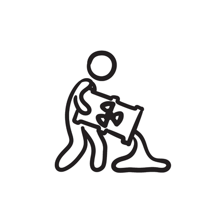 Man with oil barrel vector sketch icon isolated on background. Hand drawn Man with oil barrel icon. Man with oil barrel sketch icon for infographic, website or app.