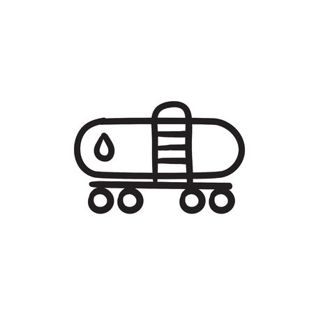 Oil tank vector sketch icon isolated on background. Hand drawn Oil tank icon. Oil tank sketch icon for infographic, website or app. Illustration