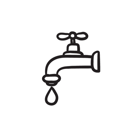 Faucet with water drop vector sketch icon isolated on background. Hand drawn Faucet with water drop icon. Faucet with water drop sketch icon for infographic, website or app. Illustration