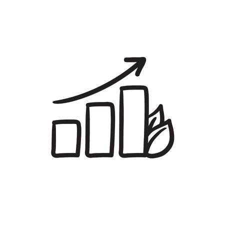 棒グラフ葉ベクター スケッチ アイコンの背景に分離されました。手には、リーフのアイコンを表す棒グラフが描画されます。インフォ グラフィッ