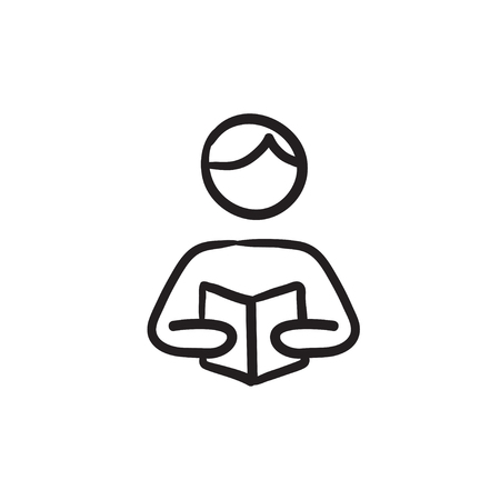 manual: Man reading book vector sketch icon isolated on background. Hand drawn Man reading book icon. Man reading book sketch icon for infographic, website or app.
