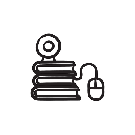 elearn: Online education vector sketch icon isolated on background. Hand drawn Online education icon. Online education sketch icon for infographic, website or app.