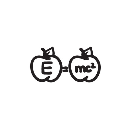 Two apples with formulae vector sketch icon isolated on background. Hand drawn Two apples with formulae icon. Two apples with formulae sketch icon for infographic, website or app.